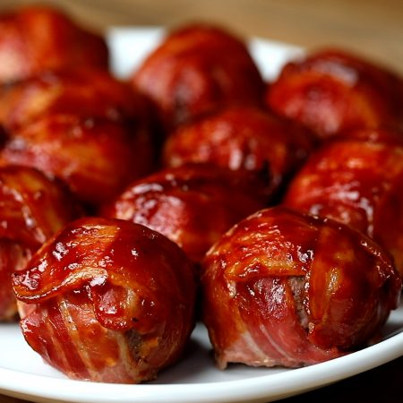 Bacon Wrapped BBQ Meatballs