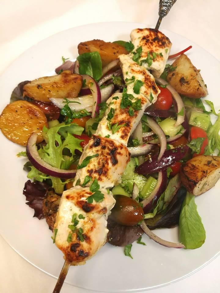 Greek Style Chicken Souvlaki with Lemon