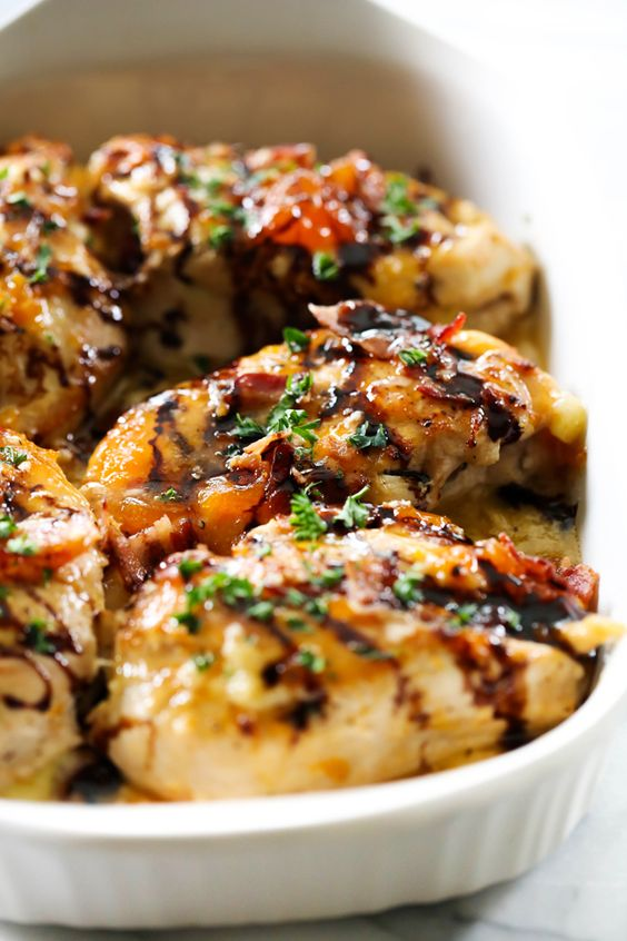 Apricot Chicken with Brie Cheese and Bacon